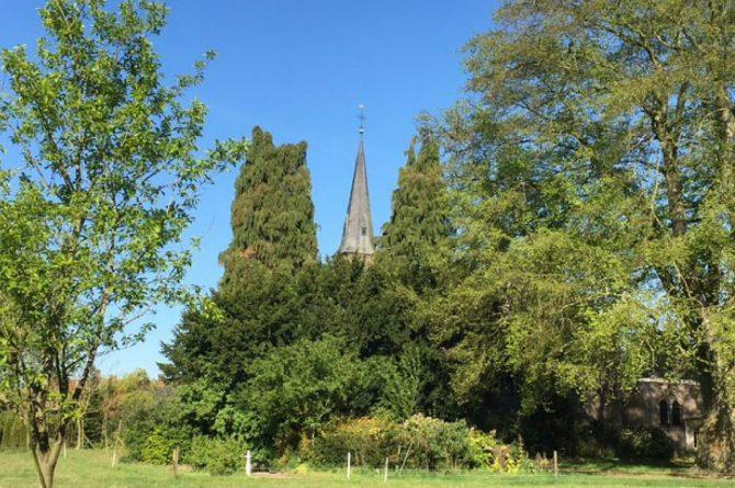 Dorpswoning De Pastorie-Villapparte-luxe vakantiehuis voor 12 personen-Noord Brabant-tuin met uitzicht op kerk