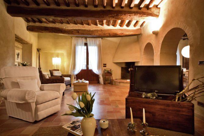 Villapparte-Belvilla-Vakantiehuis Casa Bevagna Umbrië Italië-vakantiehuis voor 5 personen-romantische woonkamer