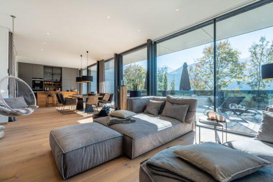 Villapparte-Belvilla-Appartement Penthouse Sonnrain-luxe appartement voor 4 personen in Piesendorf-Oostenrijk-woonkamer
