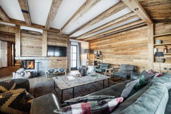 Villapparte-Belvilla-Chalet Lodge of Joy-luxe appartement voor 14 personen in Wagrain-Oostenrijk-landelijke woonkamer