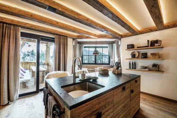 Villapparte-Belvilla-Chalet Lodge of Joy-luxe appartement voor 14 personen in Wagrain-Oostenrijk-luxe keuken