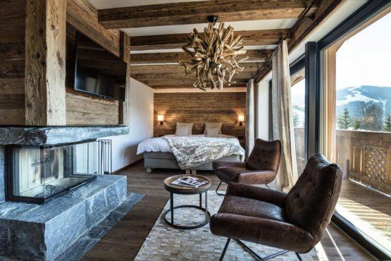 Villapparte-Belvilla-Chalet Lodge of Joy-luxe appartement voor 14 personen in Wagrain-Oostenrijk-romantische slaapkamer