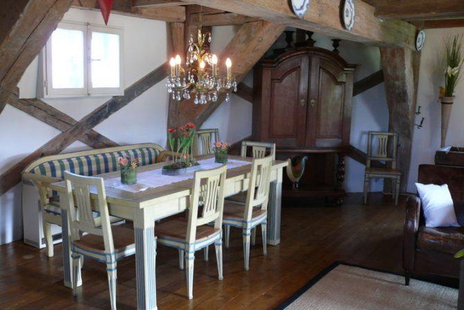 Villapparte-Belvilla-Vakantiehuis Mühle mit Charme in Wangels-luxe vakantiehuis voor 6 personen-Duitsland-nostalgische eethoek