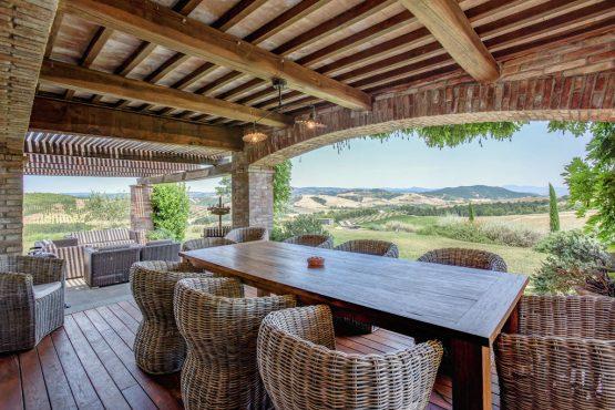 Villapparte-Belvilla-Villa Allegra Umbrië Italië-vakantiehuis voor 10 personen-overdekt terras met uitzicht