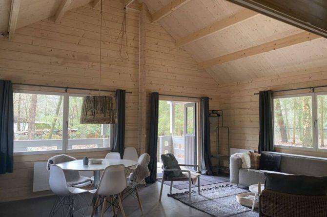 Villapparte-Scandinavische Chalet in Epe-Veluwe-luxe vakantiechalet voor 6 personen-Gelderland-gezellige woonkamer