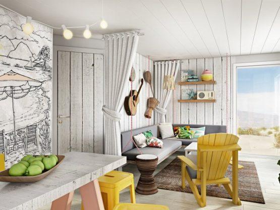Villapparte-Center Parcs-Beach Villa-Luxe vakantiehuis voor 4 personen-Zandvoort-Noord-Holland-vintage woonkamer
