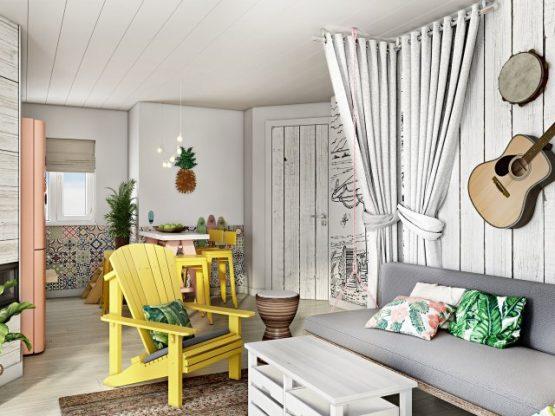 Villapparte-Center Parcs-Beach Villa-Luxe vakantiehuis voor 4 personen-Zandvoort-Noord-Holland-vintage woonkamer met eethoek