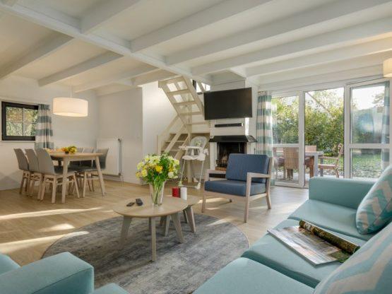 Villapparte-Center Parcs-Vip Cottage de Haan-6 personen-luxe vakantiehuis aan de Belgische kust-gezellige woonkamer