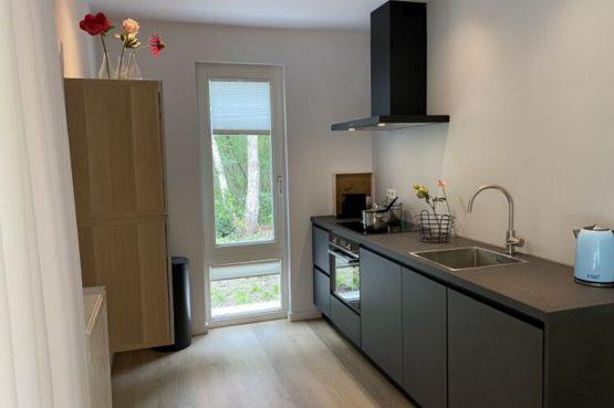 Villapparte-Natuurhuisje-Het Houten Boshuis in Koekangerveld-prachtig vakantiehuis voor 4 personen-midden in het bos-Drenthe-luxe keuken