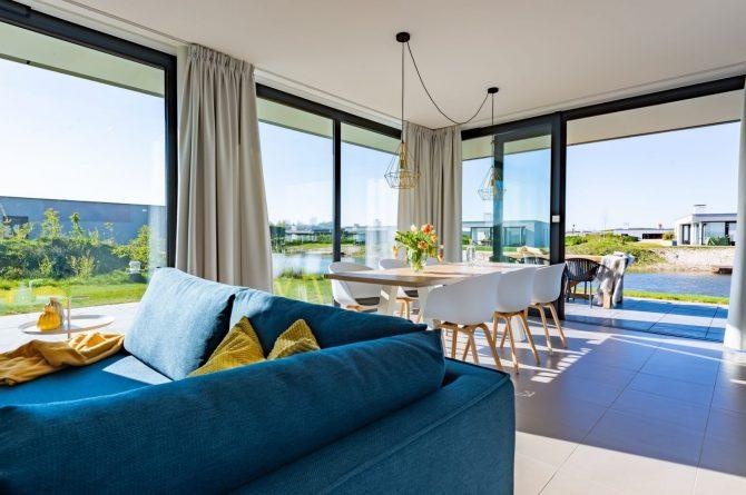 Villapparte-Zandvillas-Vakantievilla Waterlijn 3-luxe vakantiehuis voor 6 personen-Kamperland-Zeeland-luxe woonkamer