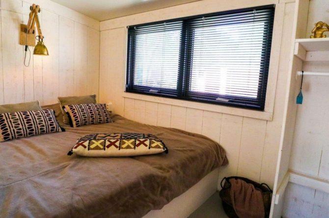 Villapparte-Droomparken-Tiny House Plus De Zanding-gezellig Tiny House voor 4 personen-Otterlo-Veluwe-romantische slaapkamer