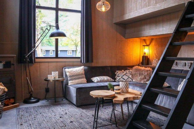 Villapparte-Droomparken-Tiny House Plus De Zanding-gezellig Tiny House voor 4 personen-Otterlo-Veluwe-warme woonkamer