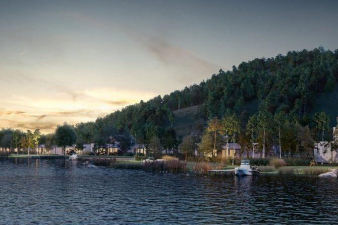 Villapparte-Center Parcs-Terhills Resort-Exclusive Lakeside Cottage-Luxe vakantievilla voor 6 personen-België-bij avond