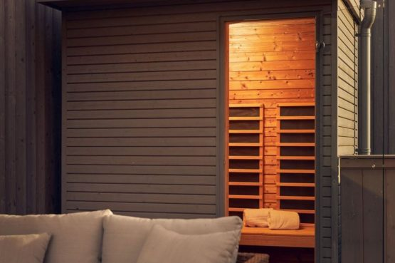 Villapparte-Center Parcs-Terhills Resort-Exclusive Lakeside Cottage-Luxe vakantievilla voor 6 personen-België-buitensauna