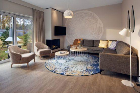 Villapparte-Center Parcs-Terhills Resort-Exclusive Lakeside Cottage-Luxe vakantievilla voor 6 personen-België-gezellige woonkamer