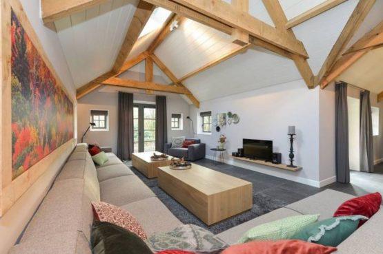 Villapparte- Natuurhuisje Vrijrijck-Ermelo-luxe vakantiehuis voor 16 personen-Gelderland.-luxe woonkamer